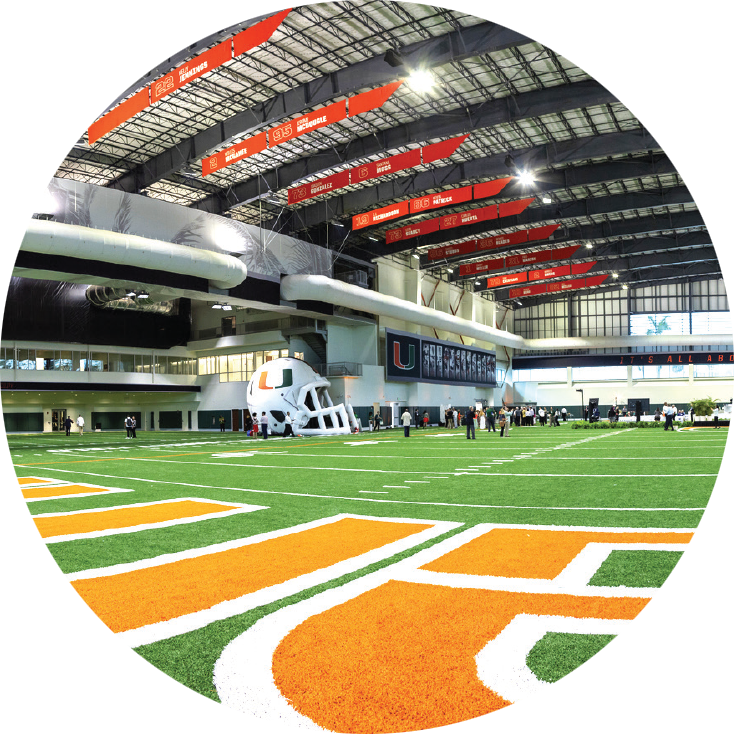 The 90,000-square-foot Carol Soffer Indoor Practice Facility